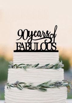 90th Of Fabulous Cake Topper Acrylic Birthday Anniversary Gifts 90 Years Old Party Decoration