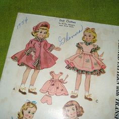 Vintage Sewing Pattern DOLL CLOTHES McCalls 1717 by SelvedgeShop