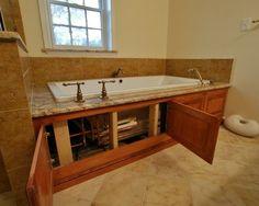 Tub Access Panel Design Ideas, Pictures, Remodel and Decor Bathroom Renos, Small Bathroom, Master Bathroom, Master Tub, Bathrooms, Basement Bathroom, Bathroom Cabinets, Bathtub Surround, Whirlpool Bathtub
