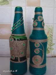 Resultado de imagen de декор бутылок шпагатом - Пошук Google