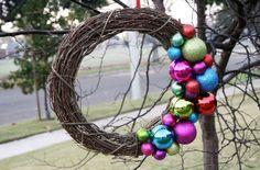 Please Note: DIY: Simple Ornament Twig Wreath