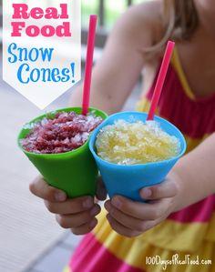Make Real Food Snow Cones! Real Food Snow Cones from 100 Days ofReal Food Snow Cones from 100 Days of Whole Food Recipes, Snack Recipes, Dessert Recipes, Cooking Recipes, Syrup Recipes, Healthy Cooking, Frozen Desserts, Frozen Treats, Frozen Fruit