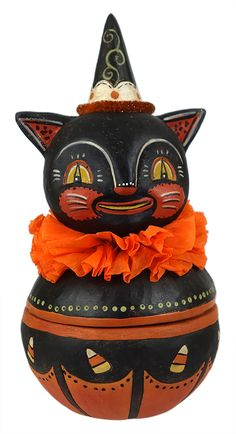 Find the spookiest, most charming collection of Johanna Parker's Halloween figures, ornaments, containers & decorations at Traditions Year-Round Holiday Store! Halloween Gourds, Retro Halloween, Halloween Items, Halloween House, Holidays Halloween, Spooky Halloween, Halloween Crafts, Happy Halloween, Halloween Decorations