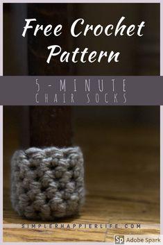 Easy cute chunky crochet chair socks pattern and tutorial! Chunky Crochet, Crochet Slippers, Knit Or Crochet, Free Crochet, Chair Socks, Crochet Patterns, Knitting Patterns, Knitting Tutorials, Bag Pattern Free