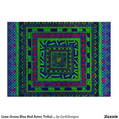 Lime Green Blue Red Aztec Tribal Squares Pattern Cutting Boards
