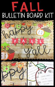 Make your bulletin board prep simple this fall with a fun fall bulletin board kit! It includes the letters, decor, and craftivity to display! Click to see more. October Bulletin Boards, Christmas Bulletin Boards, Music Bulletin Boards, Reading Bulletin Boards, Winter Bulletin Boards, Preschool Bulletin Boards, Bulletin Board Borders, Fall Classroom Decorations, Fall Classroom Door