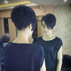 The cute and lively Pixie is one of the most popular short hairs for women. Pixie Haircuts offers a variety of opportunities. For round faces, try pixie with asymmetrical bangs. They cut your face Long Pixie Cuts, Short Hair Cuts, Short Hair Styles, Short Bangs, Long Short Hair, Short Pixie Bob, Funky Short Hair, Pixie Cut Styles, Long Pixie Hairstyles