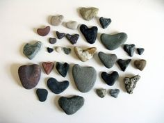 my heart rock collection by abigail    E and I collect SO many of these!! Trying to find a printer's box to display them :)