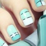 Gorgeous Tiffany blue striped wedding nails