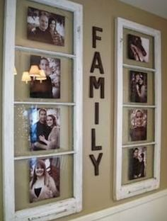 I love this! Re-purposed vintage windows for family photos. #Diy #Insurance