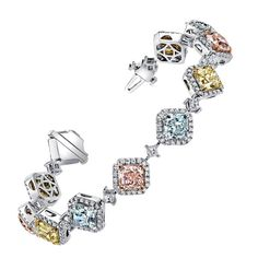 Natural Fancy Colored Pink Blue and Canary Yellow Diamond Platinum Bracelet…