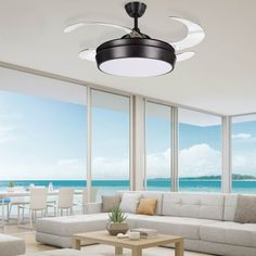 Small fan with folding blades and LED light point to work as a ceiling fan and light for living rooms or bedrooms. Available in various colours. Ceiling Lamp, Ceiling Lights, Small Fan, Luminous Flux, Living Room Lighting, Fashion Room, Dining Room, Colours, Fans