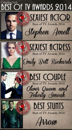 Canadagraph's Best Of TV Awards 2014 wins by Arrow, including wins for Stephen Amell, Emily Bett Rickards, and Oliver/Felicity (aka Olicity) - Part 1