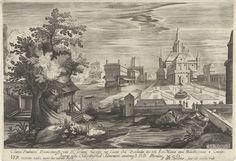 Hendrick Hondius (I) | Lente, een landschap met een kasteel, Hendrick Hondius (I), unknown, Johannes Huyssens van Cattendycke, 1601 | Landschap met water op de voorgrond en kasteel en kasteeltuin rechtsachter. Onder de voorstelling een tekst in het Latijn. Prent uit een serie met de vier seizoenen.