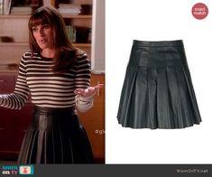 Rachel's pleated leather skirt on Glee. Outfit Details: http://wornontv.net/43958/ #Glee