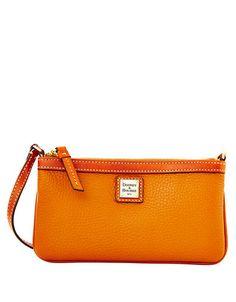 Dooney   Bourke Pebbled Leather Large Wristlet Caramel Orange Zest 381ff4a05fd56