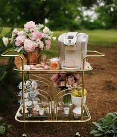 "Paige Minear | The Pink Clutch on Instagram: ""Using your bar cart for an amazing coffee bar? I'm all in for sure!!! How fabulous is this cart and the incredible set up? I would sit…"""