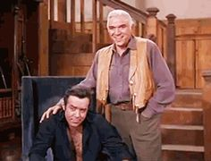 """Adam gives his teasing brothers the boot (Bonanza, """"The Wooing of Abigail Jones"""", S03E24, 1962)"""