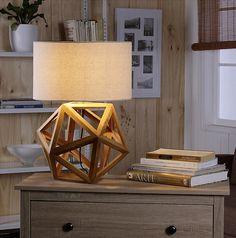 Home Collection Lámpara Mesa Diamante Madera 1 Luz