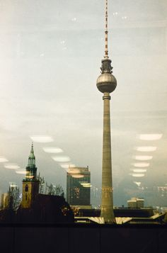Berlin Fernsehturm at Alexanderplatz as seen from the Palace of the Republic