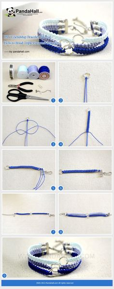Bracelet tresses bleu tutorial