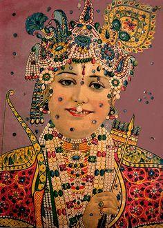 Lord Rama / Embellished Lithograph, Raja Ravi Varma