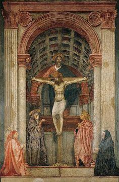 Masaccio, Heilige Drieëenheid, met Maria, de Heilige Johannes en schenkers, ca. 1425-27, fresco, 667 x 317 cm, Santa Maria Novella, Florence. Artikel over de renaissance: http://www.artsalonholland.nl/kunst-stijlen/renaissance