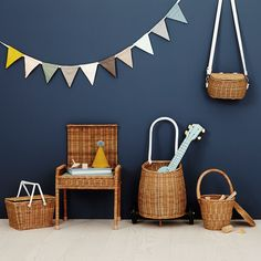 Children's baskets / children's room / children's bike / picnic basket by Olli Ella at k Rattan, Kindergarten, Mini, Little Ones, Hand Weaving, Recycling, Basket, House Styles, Furniture