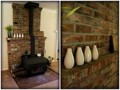 Nine Red: Painting the Brick Fireplace