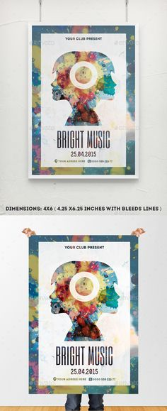 Bright Music Poster Template – Watercolor Artistic Flyer Poster Template with paint splashes, girl face silhouette, and subtle stucco texture.  Perfect for bright party, dance party, all creative and bright club party art festival / exhibition poster / photo art festival / photo exhibition / artistic party / creative concert presentation / fashion week / fashion festival / – and other your creative ideas!  Minimal. Modern. Creative. Stylish.