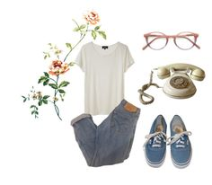 """""""Untitled #62"""" by vivi-g6 on Polyvore featuring Ace, A.P.C., Vans, vans, rose, phone, glasses and momjeans"""