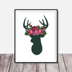 The deer cross stitch pattern. Flower forest animal. Instant download PDF. This listing is for a PDF pattern, instantly downloadable after purchase, so you can start stitching right away! A good design of your house. Design 151. Deer cross stitch pattern. DMC colors: 22, 95