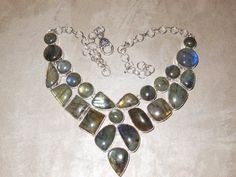 Gemstone Necklace - Blue Fire Labradorite - Bib Drops Shape