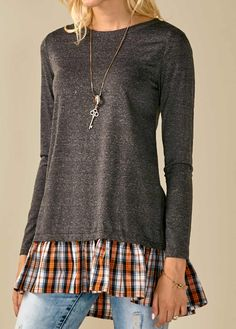 f2708e07d4f Dark Grey Long Sleeve Plaid Print Blouse on sale only US 29.69 now