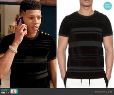 Hakeem's black striped t-shirt with gold shoulder buttons on Empire.  Outfit Details: http://wornontv.net/54394/ #Empire