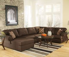 Amazing Brown Microfiber U-Shaped Sectional Sofa Design Inspiration