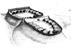 Reconstruction of the early medieval West Slavic gord (fortified settlement) in Stolpe, Brandenburg, Germany.