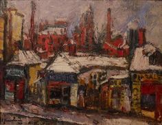Winter on the Street : Ion Tuculescu : Expressionism : cityscape - Oil Painting Reproductions Street Painting, Great Paintings, Art Database, Oil Painting Reproductions, Contemporary Paintings, Art And Architecture, Art Boards, My Arts, Winter