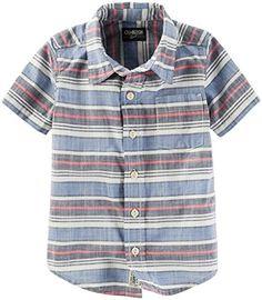Oshkosh Boys Short Sleeve Embroidered Chest Striped Tee 6 Grey
