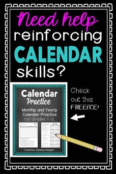 Do you need a quick, easy activity to help reinforce monthly and yearly calendar skills with your second graders? This FREEBIE was created as a monthly activity to help do just that! Just print, make double-sided copies, and have them ready to go in your classroom for a fun and engaging calendar activity! #calendarskills #calendarreview #calendarpractice #calendarfreebie
