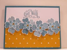"""""""Get Well"""" Perfectly Penned stamp set, Flower Shop, Petite Petals, Island Indigo, DSP, Whisper White"""