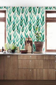 Green watercolor leaves Removable wallpaper Self-adhesive