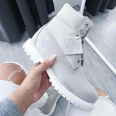 4ddcc13fc1e65 Vanessa with the Footasylum Exclusive Timberland Womens 6 Inch Premium Boot  in Light Grey.