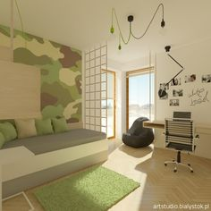 a young scout`s room with white board   artstudio