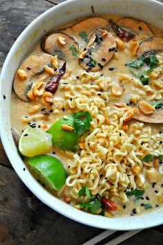 Vegan Spicy Thai Peanut Ramen - Rabbit and Wolves Needs substitutes but workable Ramen Recipes, Asian Recipes, Cooking Recipes, Healthy Recipes, Ethnic Recipes, Healthy Breakfasts, Thai Vegetarian Recipes, Vegan Vegetarian, Crockpot Recipes