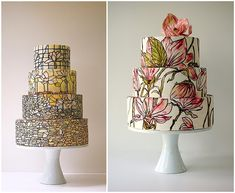 Maggie Austin Tiffany Inspired Wedding Cake perfect for a 1920's Art Nouveau vintage style wedding; flapper