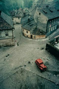 red car in prague, 1967 / franco fontana Old Buildings, Abandoned Buildings, Abandoned Places, Franco Fontana, Haunted Places, Abandoned Mansions, Ghost Towns, Oh The Places You'll Go, Belle Photo