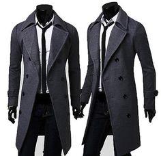 Para Hombre Slim elegante Trench De Invierno Chaqueta Larga de doble  abotonadura Abrigo Capa Trajes Ejecutivos 3033bbaf8e91