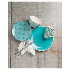 Simpatico is crafted of durable earthenware, safe for the dishwasher.An unexpected and delightful mix of chic and cheeky patterns that layer on a solid dinner plate to create a dynamic table setting. Available in four color ways of brilliant blue, radiant red, alluring aqua and graphic gray. Each looks great on their own or mix up the colors to make an even bolder statement on your table.