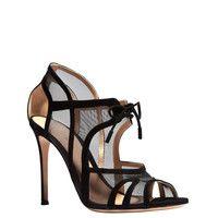 Gianvito Rossi Black Mesh Heels - Black Sandals - ShopBAZAAR